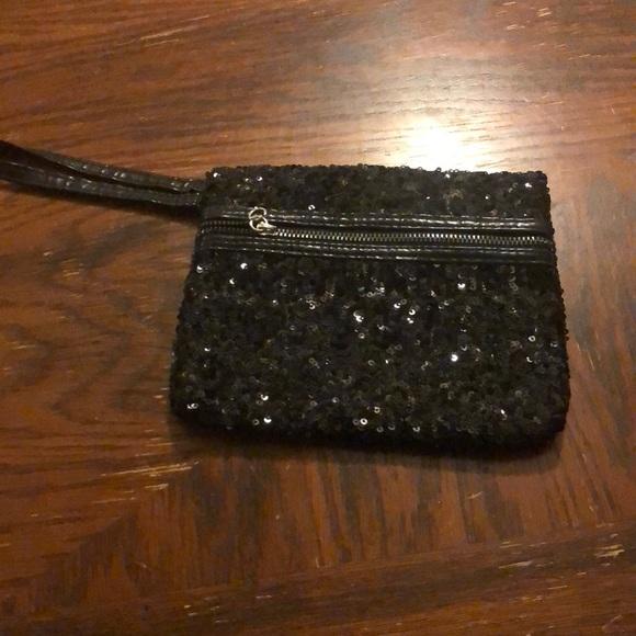 Black sequin wristlet  Zipper missing pull tab